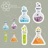 Kemisk symbolsuppsättning med bakgrund Arkivbild