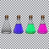 Kemiska flaskor med agens på en genomskinlig bakgrundsvektor Arkivfoto
