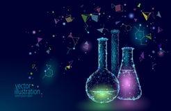 Kemiska glass flaskor för låg poly vetenskap Teknologi för framtid för forskning för magisk triangel för utrustning polygonal blå stock illustrationer