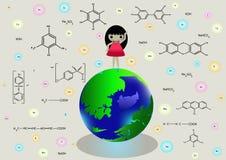 Kemiska symboler och flicka på planetjord tecknad film dam Arkivfoton