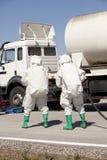Kemiskt spill efter vägolycka Royaltyfri Bild