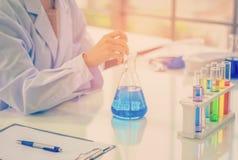 Kemisten arbetar på laboratoriumet, morgonrum har solljus som igenom skiner, med att arbeta för provprover royaltyfri bild