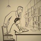 Kemister som väntar och forskar Arkivbild