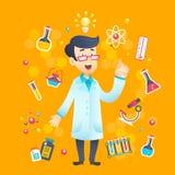 Kemistforskare Character royaltyfri illustrationer