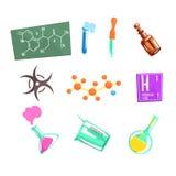 KemistforskareAnd Chemical Science släkta symboler och experimentell utrustning för laboratorium royaltyfri illustrationer
