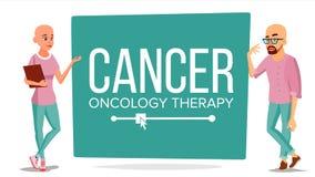 Kemoterapipatientvektor Sjuk man, kvinna med cancer Medicinskt Oncologyterapibegrepp behandling hårlöst stock illustrationer