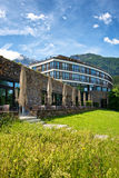 Kempinski Hotel Berchtesgaden in the Bavarian Alps. Exterior of Kempinski Hotel Berchtesgaden, a Luxury 5 Star Hotel in the Bavarian Alps, with Green Grounds and Royalty Free Stock Image
