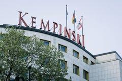 Kempinski Hotel Logo. BERLIN, GERMANY - MAY 11, 2017: Kempinski Hotel brand logo on top of building entrance at famous Kurfuerstendamm in Berlin Charlottenburg Stock Photos