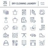 Kemtvätt tvätterilinje symboler Tjänste- utrustning för tvättinrättning, tvagningmaskin, klädsko och leaherreparation royaltyfri illustrationer
