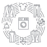 Kemtvätta och tvätterivektorobjekt Unikt vektorbegrepp med olika kläderbeståndsdelar: packning omslag, kjol royaltyfri illustrationer