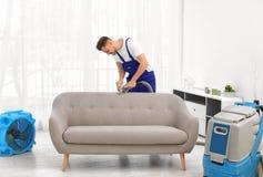 Kemtvättarbetare som tar bort smuts från soffan royaltyfri bild