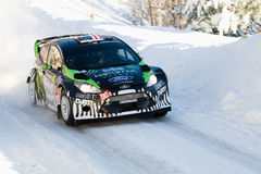 Ken Block. LYSVIK, SWEDEN - FEB 11: Ken Block drives a Ford Fiesta RS for the Monster World Rally team during the World Rally Championship event Rally Sweden Royalty Free Stock Photography