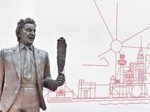 Ken Dodd-Statue an der Kalk-Straßenstation in Liverpool stockbild