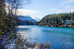Kenai river Alaska. A view of a snowy scene of the Kenai river in Alaska royalty free stock images