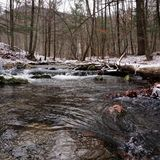 Kenape bäck Catskills i vinter arkivbilder