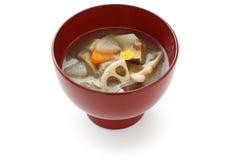 Kenchinjiru, sopa vegetal, alimento japonés del zen imagen de archivo