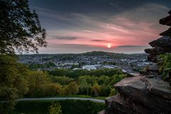 Sunset over Kendal town, Cumbria. Kendal /ˈkɛndəl/, anciently known as Kirkby in Kendal or Kirkby Kendal, is a market town and civil parish within the stock photo