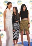 Kendall Jenner y Kim Kardashian y Kylie Jenner Imagen de archivo