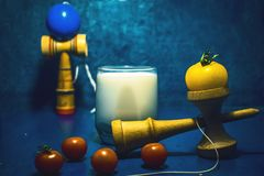 `Kendama` traditional Japanese toy and healthy food for teens kids concept teenagers food habits concept children health. Problems Stock Images