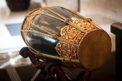 Kendang traditioanl muzyka wytłacza wzory wyposażenie od Indonesia zrobił od drewna Fotografia Stock
