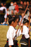 女孩日本日本kendo执行的东京 免版税库存照片