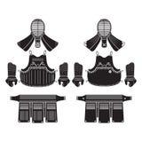 Kendo bogu or armor. Vector set Royalty Free Stock Photo