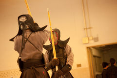 Kendo. Boys training at The Osaka Shudokan Martial Arts Training Hall, 17 May 2014, Japan Royalty Free Stock Photography
