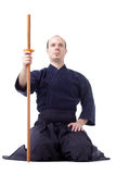 Kendo fighter. With bokken isolated on white Stock Images