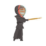Kendo fighter man with shinai cartoon vector Illustration. On a white background Royalty Free Stock Image