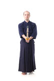 Kendo fighter with Shinai Stock Image