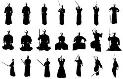 Kendo fighter silhouettes stock photos