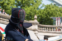 Kendo Fighter in Traditional Clothes with Bamboo Sword Stock Photos