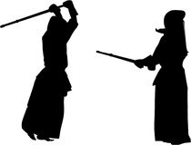 Kendo fighters #2 silhouette Royalty Free Stock Photos