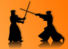 Kendo fighters in traditional clothes silhouette. Two kendo fighters in traditional clothes silhouettes on orange background Stock Image