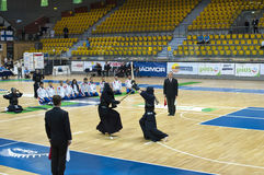 Kendo match. Kendo warriors in action. The European Kendo Championships 2011 in Gdynia, Poland Stock Image