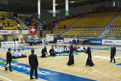 Kendo match. Kendo warriors in action. The European Kendo Championships 2011 in Gdynia, Poland Royalty Free Stock Photos