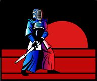 Kendo sensei stands at decline. He has prepared to strike the opponent stock illustration