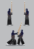 Kendo Sparring Vector Illustration. Vector Illustration of two people in black protective armor and helmet holding bamboo sword in kendo sparring. First, they Royalty Free Stock Photography