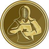 Kendo Swordsman Gold Medal Retro Royalty Free Stock Photos