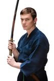Kendoka in hakama hands bokken Royalty Free Stock Image