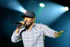 Kendrick Lamar (artista de una discográfica americano del hip-hop) se realiza en el festival 2014 del sonido de Heineken Primaver Fotografía de archivo
