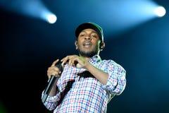 Kendrick Lamar (artista de una discográfica americano del hip-hop) se realiza en el sonido 2014 de Heineken Primavera Fotos de archivo libres de regalías