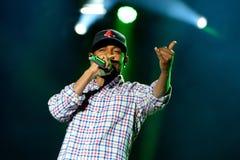 Kendrick Lamar (de Amerikaanse kunstenaar van de hiphopopname) presteert bij het Correcte 2014 Festival van Heineken Primavera Stock Foto's