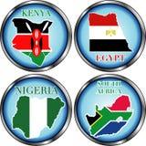 Kenia Egypte Nigeria Zuid-Afrika stock foto's