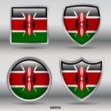 Kenia-Flagge in der Sammlung mit 4 Formen mit Beschneidungspfad Lizenzfreie Stockfotos