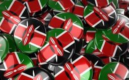 Kenia wird Hintergrund - Stapel von Kenyan Flag Buttons deutlich Stockbilder