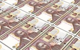 Keniaanse shillingen als achtergrond van rekeningenstapels Stock Foto