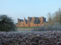 Kenilworth Castle frosted bushes Royalty Free Stock Image