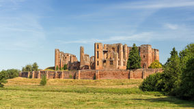 Kenilworth Castle, Warwickshire, England. A view of the historic Kenilworth Castle showing, from left to right, the Great Hall, State Apartments and Leicester`s Royalty Free Stock Photo