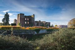 Kenilworth Castle Warwickshire. Ruined walls and towers of Kenilworth Castle on a bright Autumn day, Kenilworth, Warwickshire, England, UK, November 2017 Royalty Free Stock Photos